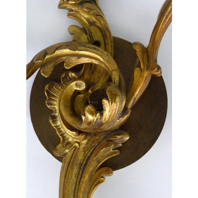 Bronze C. 1900 French Bronze Wall Sconces- a Pair For Sale - Image 7 of 9