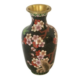 Mid 20th Century Chinese Vintage Cloisonné Cherry Blossom Vase For Sale