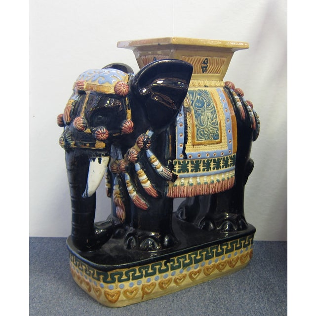 Vintage Polychrome Elephant Garden Stool - Image 2 of 7