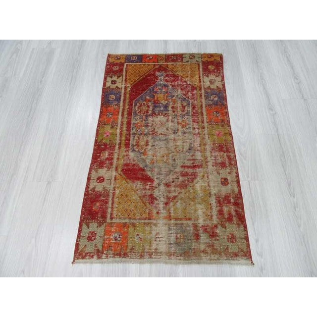 """Islamic Vintage Distressed Colorful Small Turkish Rug - 28"""" X 48"""" For Sale - Image 3 of 6"""