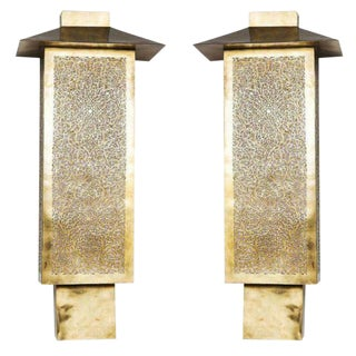 Brass Tall Wall Sconces - a Pair For Sale