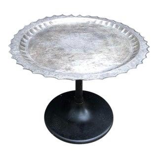 Vintage Tulip-Base Silver Side Table For Sale