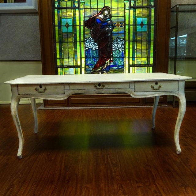 Antique Style Louis XV Style Hand Painted Bureau Desk For Sale In West Palm - Image 6 of 6