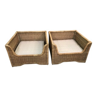 Vintage Boho Chic Mid-Century Modern Large Wicker Chairs-Pair For Sale