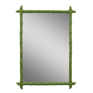 Vintage Faux Bamboo Green Mirror For Sale