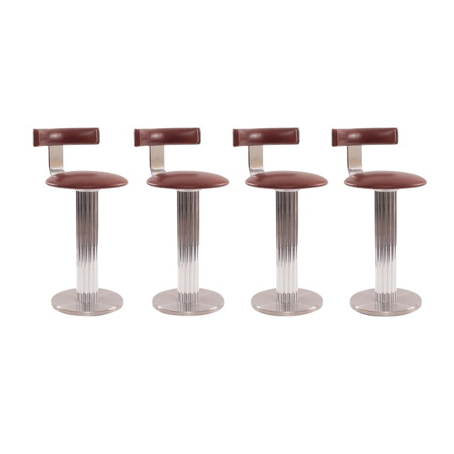 Four Leather and Chrome Barstools by Design For Leisure - Image 1 of 6