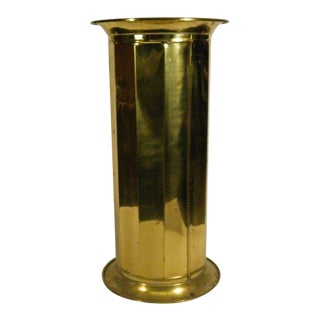 1970s Vintage English Brass Umbrella Stand For Sale