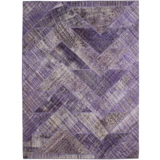 """Vintage Hand Knotted Patchwork Rug - 10'1"""" X 8'0"""" For Sale"""