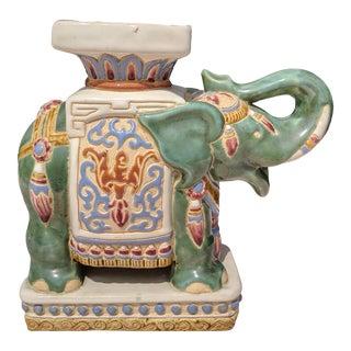Palm Beach Regency Handpainted Ceramic Elephant Figurine Plant Stand For Sale