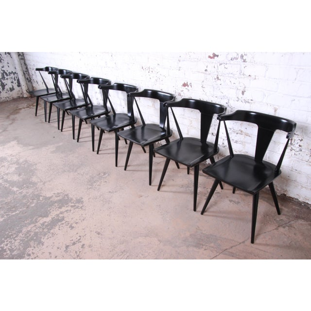 Paul McCobb Planner Group T-Back Black Lacquered Solid Maple Dining Chairs, Set of Eight For Sale - Image 13 of 13