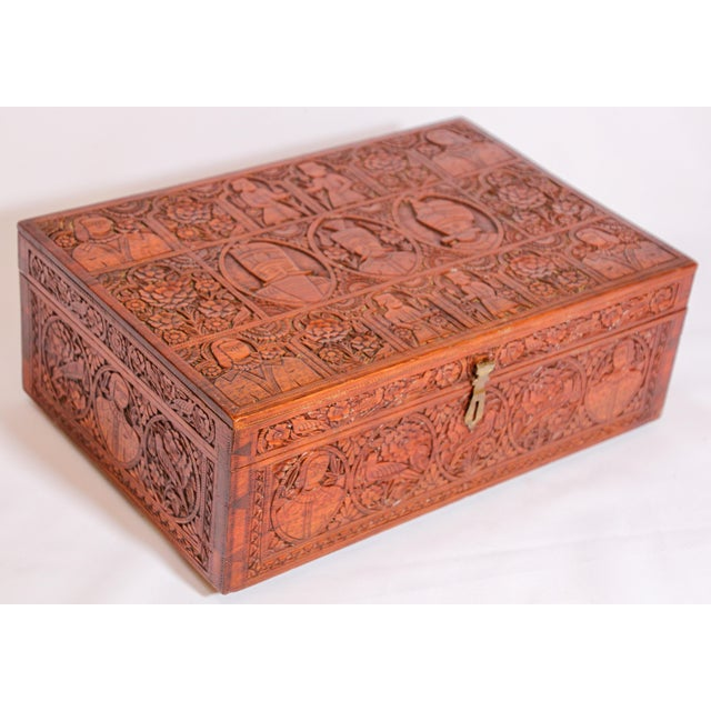 Large Early 19th Century Antique Hand Carved Wooden Decorative Box For Sale - Image 4 of 13