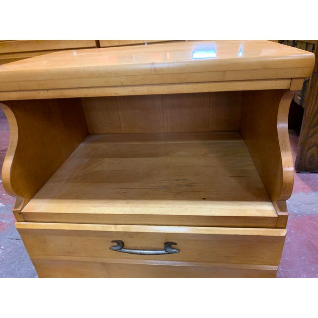 Mid-Century Modern 1960s Kling Blonde Solid Curly Maple Nightstand For Sale - Image 3 of 9