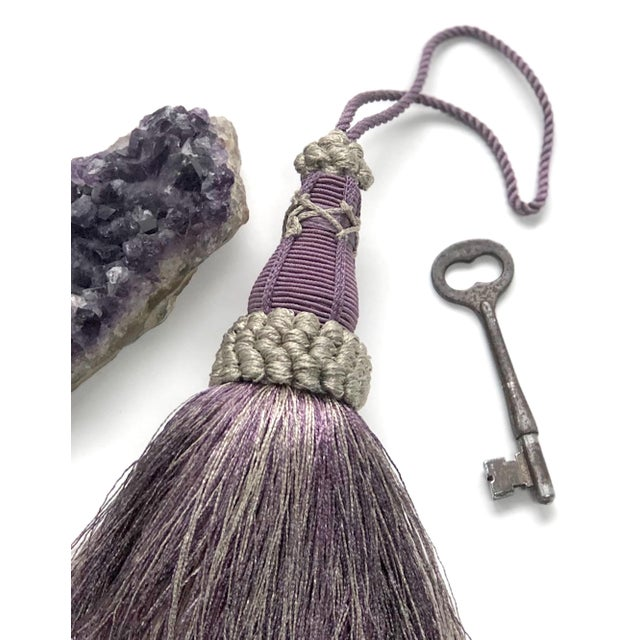 Textile Key Tassel in Amethyst and Gray With Ruche Trim For Sale - Image 7 of 11