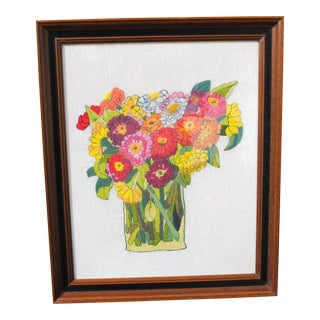 Vintage Mid Century Modern Zinnia Bouquet Crewel Embroidery Textile Art, Framed For Sale