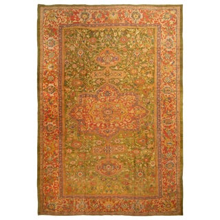 Antique Sultanabad Indian Red and Green Floral Rug For Sale