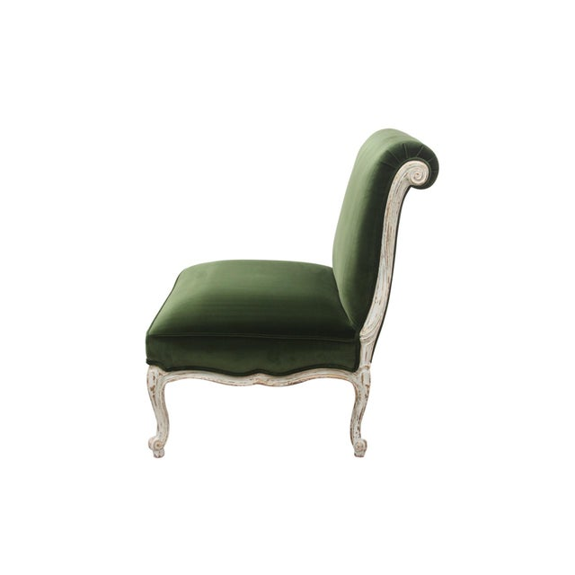 French Provincial Vintage Mid Century French Provincial Green Velvet Slipper Chairs- A Pair For Sale - Image 3 of 8