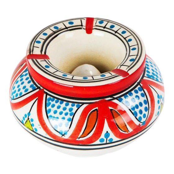 Moroccan Atlas Multicolored Ceramic Ashtray - Image 1 of 3