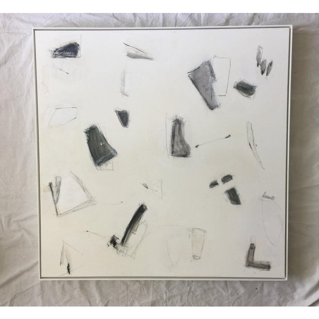 Abstract expressionism painting by Kimberly Moore. Black, white, blackish brown, gray, camel, green, parchment and...