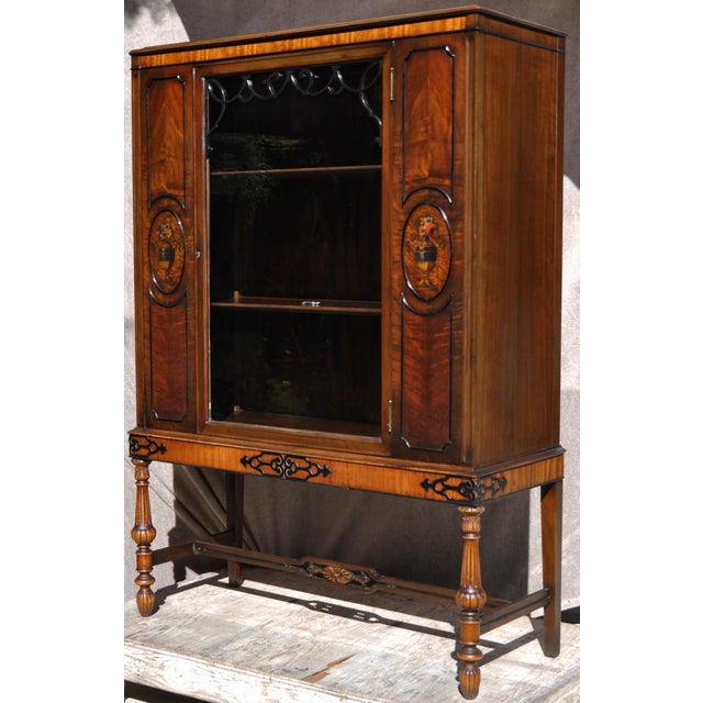 Traditional Berkey & Gay Hand Painted Victorian Mahogany China Display Cabinet For Sale - Image 3 of 13