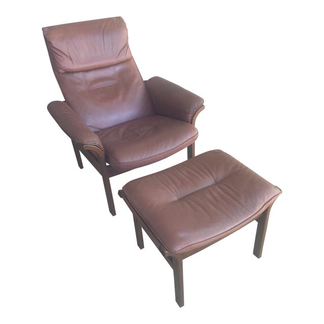 G Mobel Sweden Reclining Lounge Chair & Ottoman For Sale