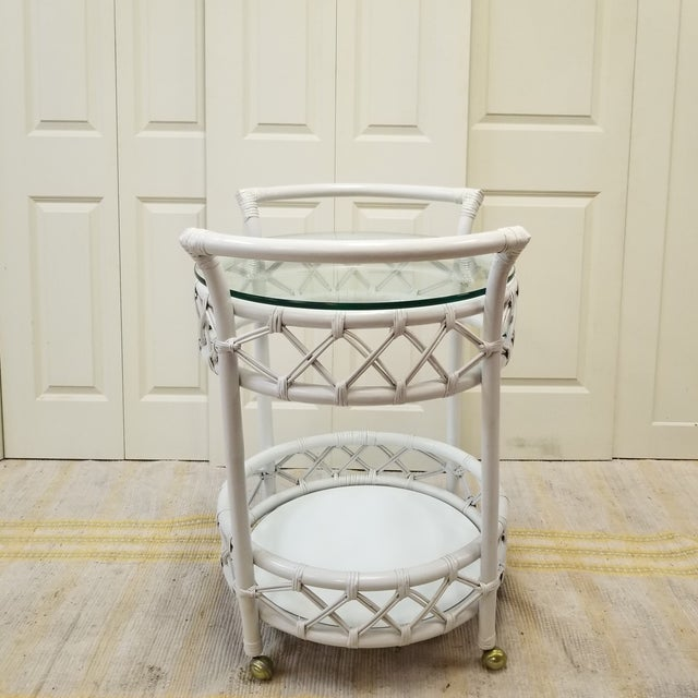 Mid-Century Ficks Reed Painted Rattan Rolling Bar Cart - Image 3 of 5