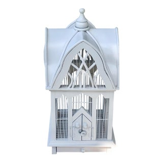 White Wood and Metal 20th Century Art Deco Functional Birdcage For Sale