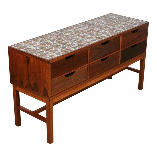 Severin Hansen Vintage Danish Rosewood and Royal Cph Tile Chest of Drawers For Sale In Seattle - Image 6 of 6