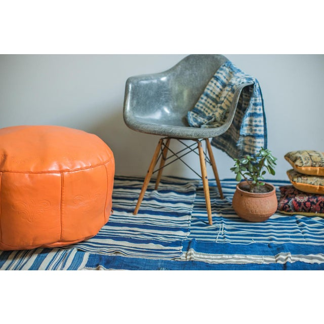 Animal Skin Antique Revival Orange Leather Pouf Ottoman For Sale - Image 7 of 9