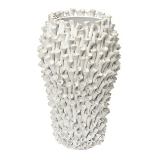 Organic Modern Petal Ceramic Sculptural Vessel For Sale