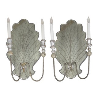 Vintage Pair of Venetian Style Silver-Gilt and Eglomisé Glass Candelabra Wall Sconces For Sale