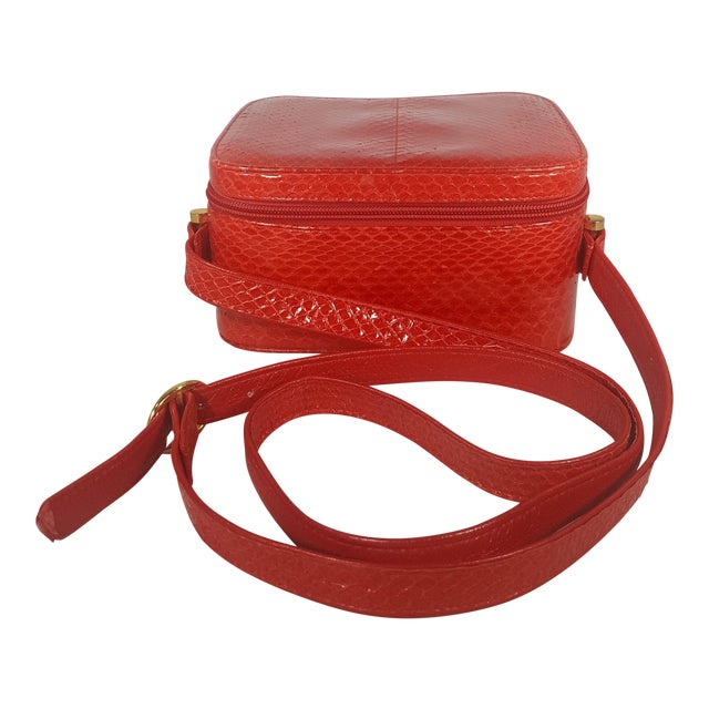 Vintage Red Snakeskin Box Purse With Adjustable Strap For Sale