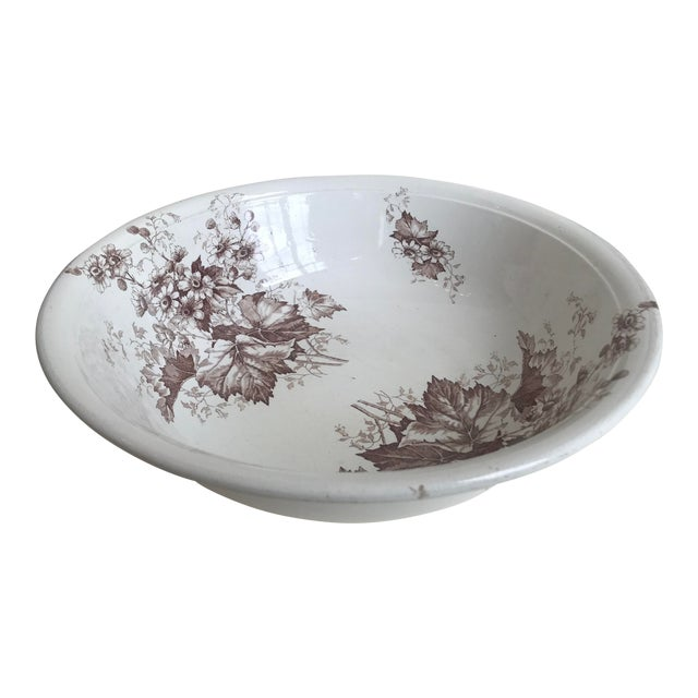 19th Century English Floral Ironstone Bowl For Sale