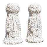 Image of 1970s Vintage Rope & Tassel Candlesticks - a Pair For Sale