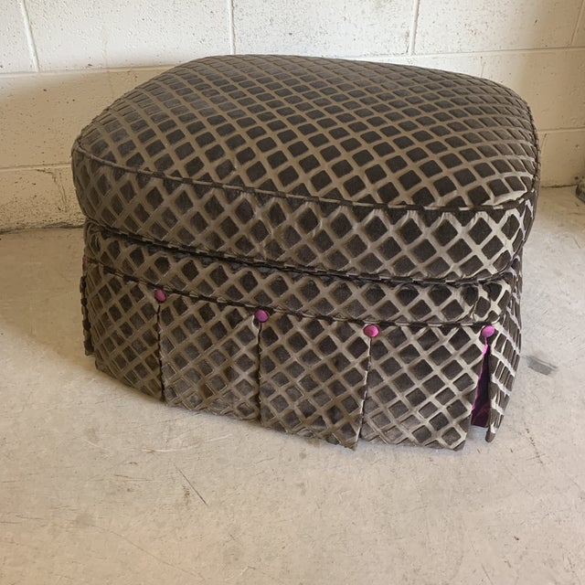 Brown Chocolate Laser Cut Velvet and Pink Satin Ottoman For Sale - Image 8 of 11