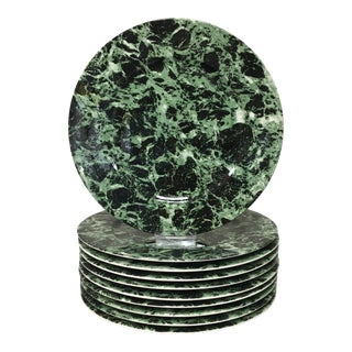 Villeroy & Boch Green Marble Chargers Set of 10 For Sale