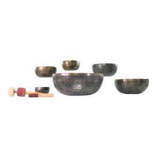 Vintage Set of 6 Bronze Nesting Incised Singing Bowls or Standing Bowls With Mallets For Sale
