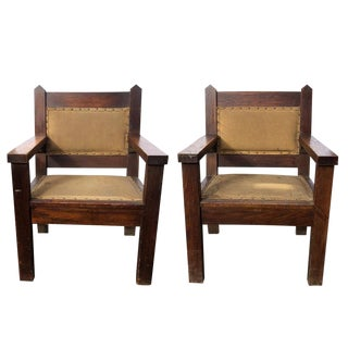 1920s Vintage Arts & Crafts Oak Bishop Throne Chairs- A Pair For Sale