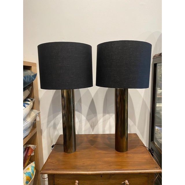 Brass Walter Von Nessen Brass Cylinder Lamps - Pair For Sale - Image 8 of 8