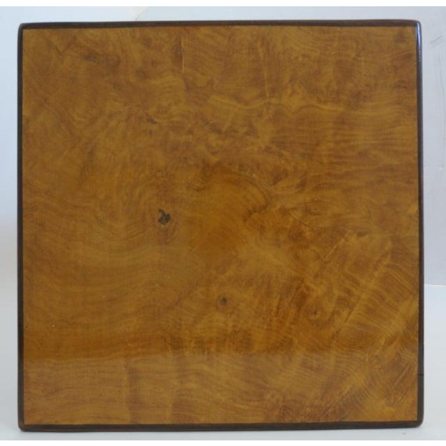 Mid-Century Modern Drexel Heritage Furniture Pedestal Burlwood Veneers For Sale In West Palm - Image 6 of 10