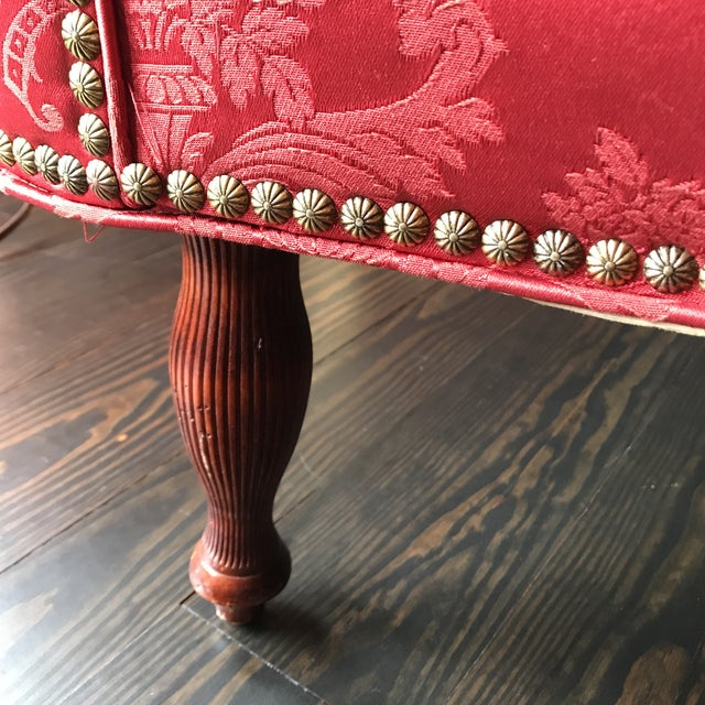 Custom Made Red & Gold Sofa For Sale - Image 9 of 12