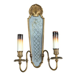Caldwell Double Light Etched Mirrored Sconces - a Pair For Sale