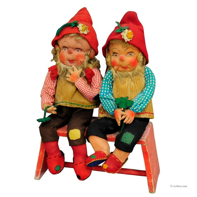 A Pair Of Whimsical Handmade Felt Gnomes, Germany Ca. 1930 For Sale - Image 9 of 9