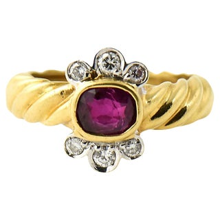 Italian Gold Ruby & Diamond Ring For Sale