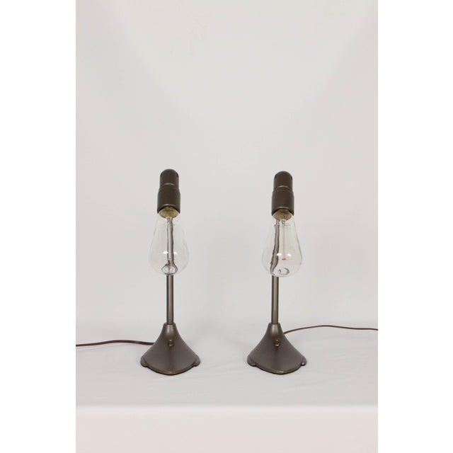 Pair of Machine Age Desk Lamps. Minimalist style. Painted Metal, with antique style edison bulbs. Switch on base. Rewired,...
