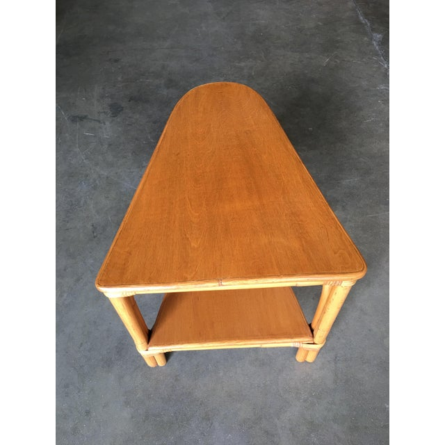 Restored Rattan Wedge Drinks Table With Two-Tier Mahogany Tops For Sale In Los Angeles - Image 6 of 7