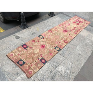 1960s Turkish Handwoven Wool Faded Floor Runner Rug Preview