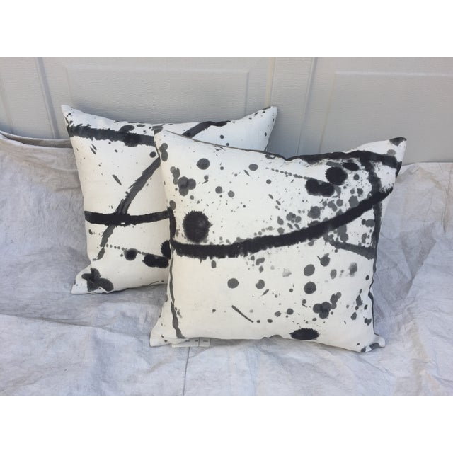 "Abstract Pierre Frey ""Leo"" Fabric Abstract Pillows - Pair For Sale - Image 3 of 8"