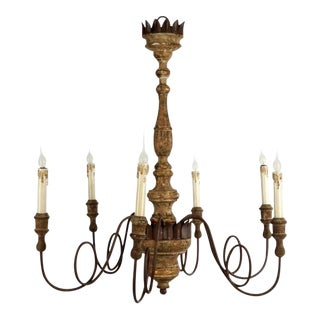 Set of Four Italian Style Carved Wood and Iron Chandeliers With Lovely Patina For Sale