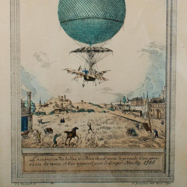 Mid-Century Modern Hot Air Balloon Antique Hand-Colored Lithograph by Charles Dupont For Sale - Image 3 of 4