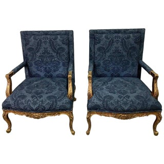 Pair of Giltwood Georgian Style Gainsborough Chairs For Sale